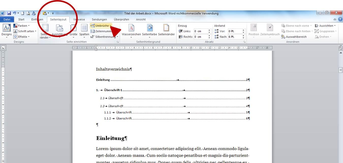 Seitenzahlen ab Seite 3: Schritt 5